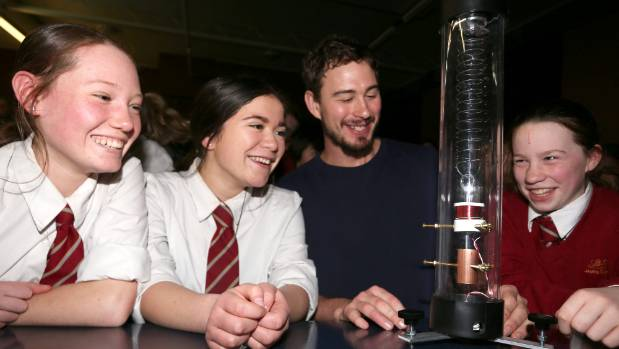 Heidi Wilks, 14, Ezrah Herrick, 13, James Clarke and Megan Sutherland with the school's new seismometer.