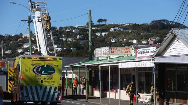 Emergency services outside the Loong Fong restaurant in Miramar, Wellington.