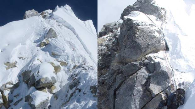 On the left is the Hillary Step in 2016, compared to a 2013 photo on the right. Despite being taken from slightly ...