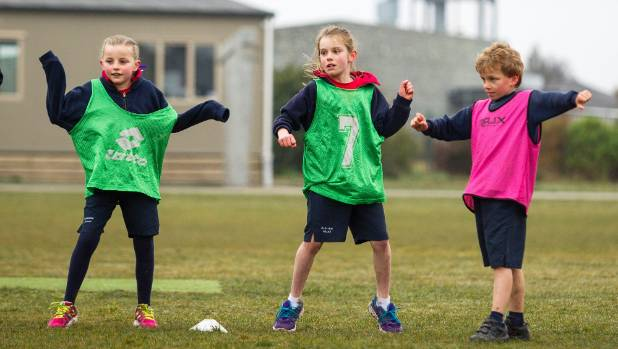 Rolleston School pupils Chloe Simmons, Edan Innes and Cam Poki during a sports activity. Young families are making ...