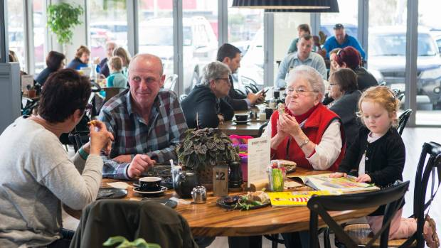 From left, Lynley McEvedy,  Pat McEvedy, Shirley Reid and Harper Clark enjoy a cafe lunch. A nearby business park ...