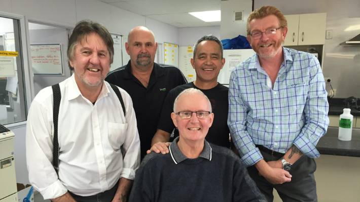 Heart Attack Survivor Pat Sheehy Seated With The Men Who Saved His Life
