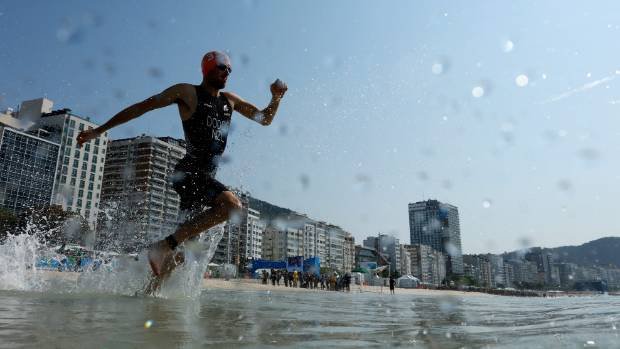 Tony Dodds, pictured during the men's triathlon at the Rio Olympics, competed at the Port Nelson Sea Swim Series.
