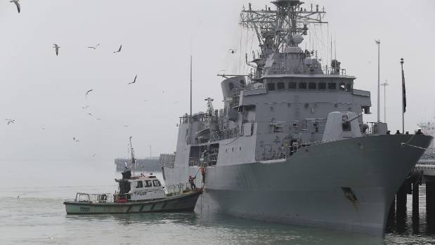 The HMNZS Te Mana arriving at the Port of Timaru.