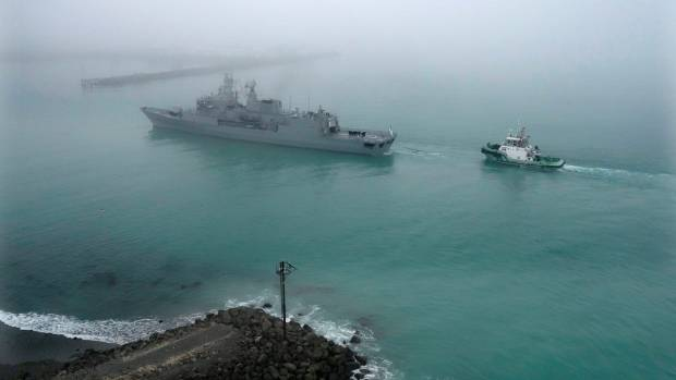 A thick blanket of fog welcomed the Navy ships on Friday.