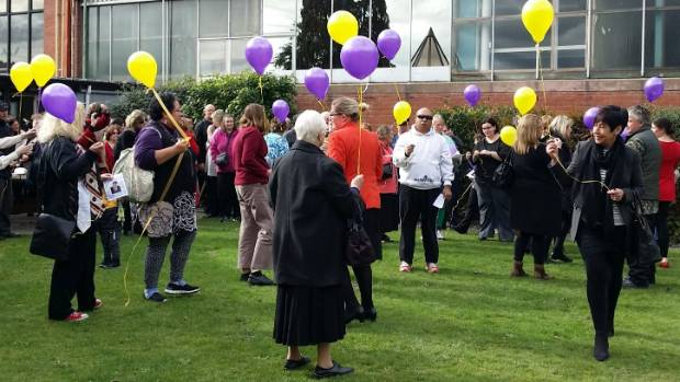 Balloons were let off after a remembrance service for Mary Berrington in Upper Hutt in August.