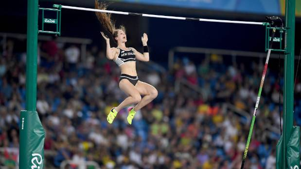 Eliza McCartney clears a jump in the women's pole vault final at the Rio Olympics.