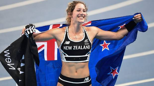 Eliza McCartney celebrates winning bronze in the women's pole vault at the Rio Olympics.