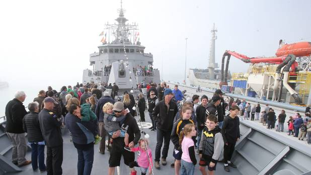 There was a constant stream of visitors to the naval vessel Te Mana on Saturday.