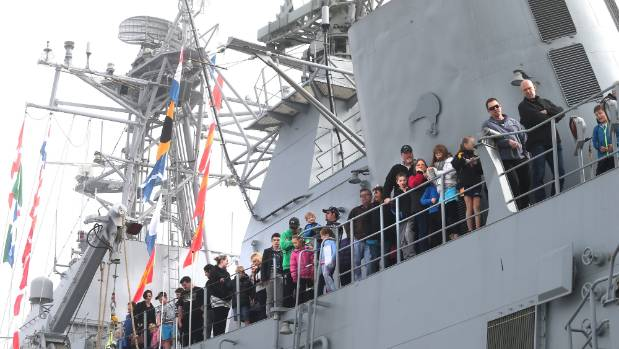 People taking in the view on the naval vessel Te Mana on Saturday.