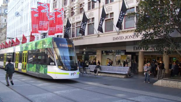 The group says light rail in Lambton Quay could look like trams in Melbourne's CBD, as pictured here.