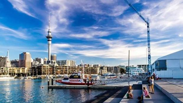 Auckland central from the Wynyard Crossing Bridge.