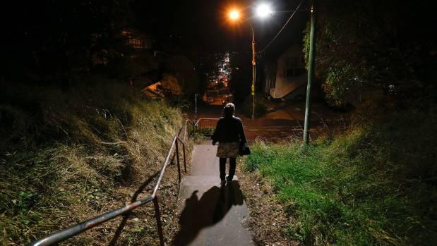 A man attacked a woman by the steps below Boyd Wilson-Field in Kelburn in February. (FILE)