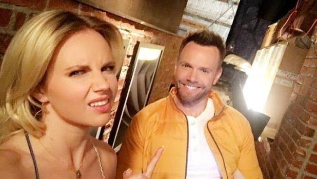 Kiwi Kimberley Crossman and Joel McHale on the set of the shoe The Great Indoors.