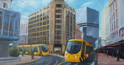 An artist's impression of what light rail advocates hope to see  in the Wellington CBD.