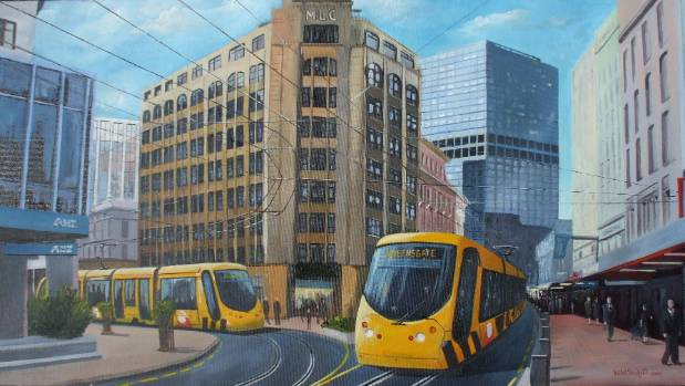 An artist's impression of what light rail advocates hoped trains running along Lambton Quay would look like.