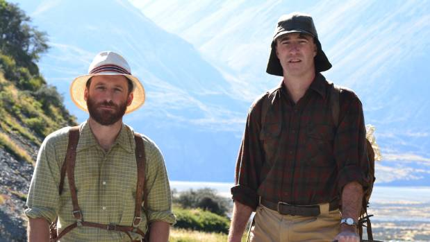 Dean O'Gorman (left) as George Lowe with Andrew Munro (right) as Sir Edmund Hillary in the drama series Hillary