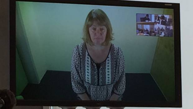Joanne Harrison appears in the Manukau District Court via video link earlier this year.