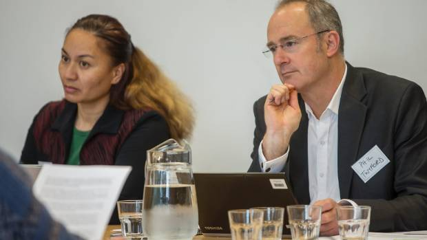 Green Party MP Marama Davidson and Labour's housing spokesman Phil Twyford listen to submissions.