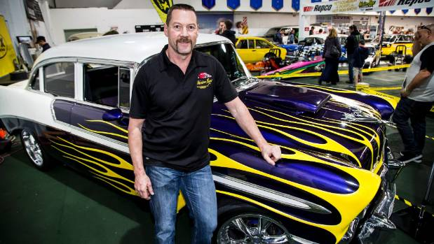 Colin Wansbrough, club president of the Western Bays Street Rodders, with his 1956 Chevrolet Bel-Air.
