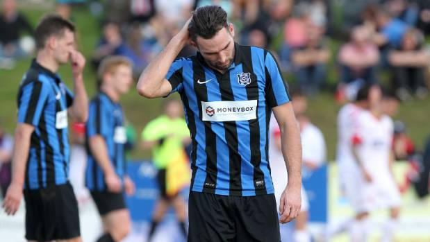 Miramar's Tim Schaeffers is disappointed after losing to Birkenhead in the Chatham Cup semifinals.