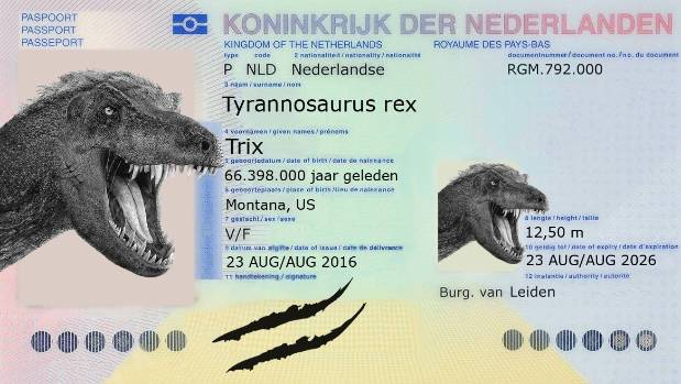 T rex skeleton gets its own passport for flight from the us to the the t rex has its own dutch passport ccuart Choice Image