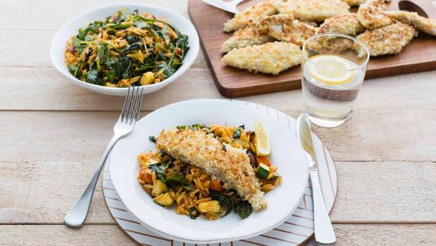 Meal kits prove popular more companies jump on board stuff one recipe offered by my food bag macadamia crumbed fish with sundried tomato pesto orzo forumfinder Images