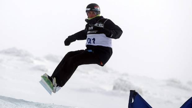 Raubenheimer competing in the Snowboard Cross Adaptive Standing Men event at the Winter Games in Wanaka in 2011.
