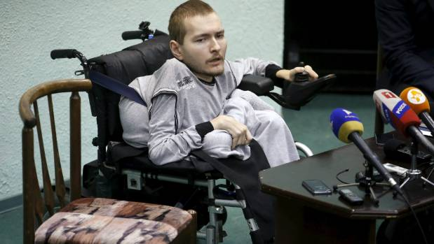Valery Spiridonov, a man who has volunteered to be the first person to undergo a head transplant, attends a news ...