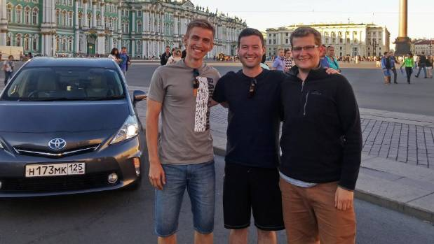 The end of the road trip. Igor Novikov, Tim McCready and Darren Keane outside the Hermitage in St Petersburg
