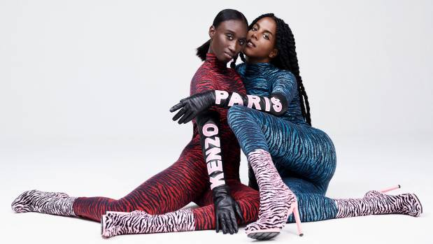 Amy Sall and Juliana Huxtable are among those modelling the Kenzo X H&M collection.