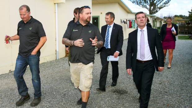 Touring seasonal worker accommodation are, from left, Hortus operations manager Rob Slatter, Hortus owner Aaron Jay, ...
