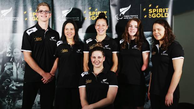 New Zealand's para-swimming team for Rio (Jesse Reynolds far left, Nikita Howarth second from far right)