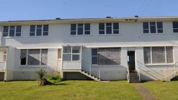 A boarded up Housing NZ home in Porirua.