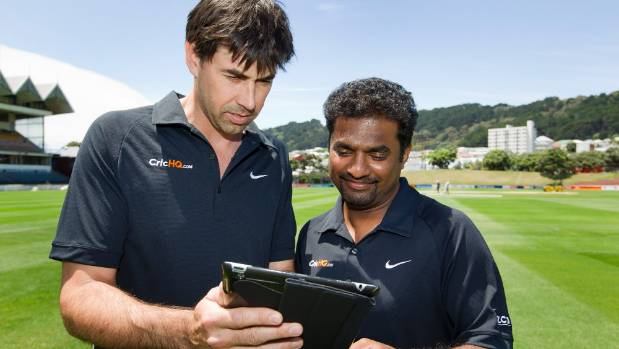 Former Black Caps captain Stephen Fleming, left, who invested in CricHQ is pictured with former Sri Lankan cricketer ...