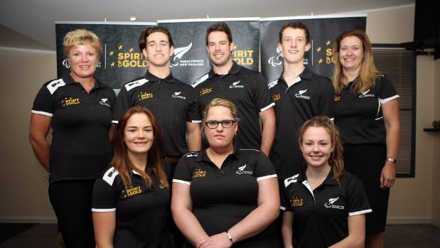 Grimaldi (bottom right) is one of New Zealand's eight-strong para-athletics team.