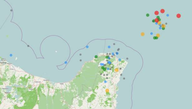 Map showing recent earthquakes in the New Zealand region. The red dots show severe quakes.