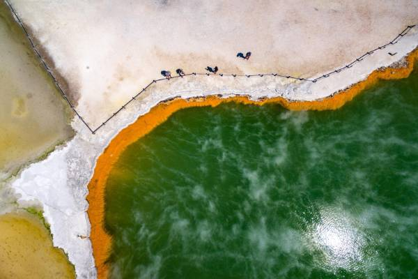 Aerial photography finalist: Mark Smith embarked on a month-long project, documenting the Wai-O-Tapu thermal park from ...