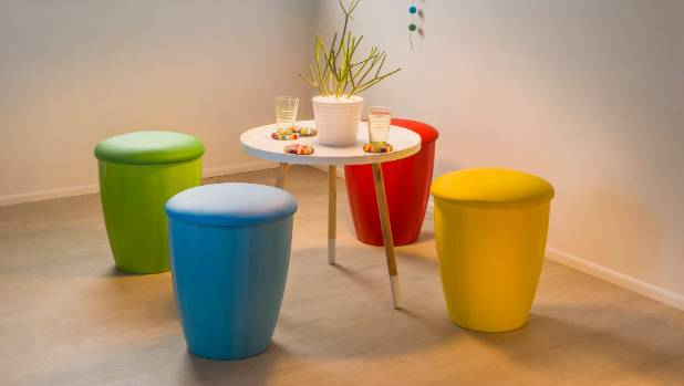 Incorporate extra storage wherever you can. These Popcorn stools from mocka.co.nz have extra storage in the seats.