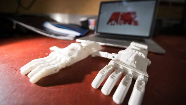 Max has used 3D printing to create prototypes of the hand, which will be gas powered and allow his brother Chad to ride ...