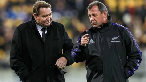 All Blacks coaches Ian Foster and Steve Hansen ... having a quiet word.
