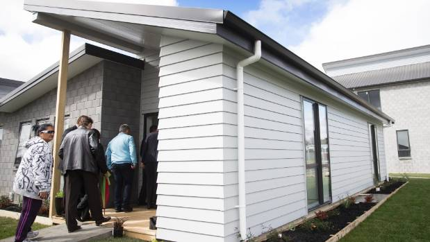 Guests file into the two-bedroom kaumatua unit at Wairere Village.