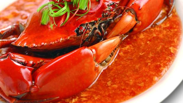 Chilli crab is best eaten with your hands.