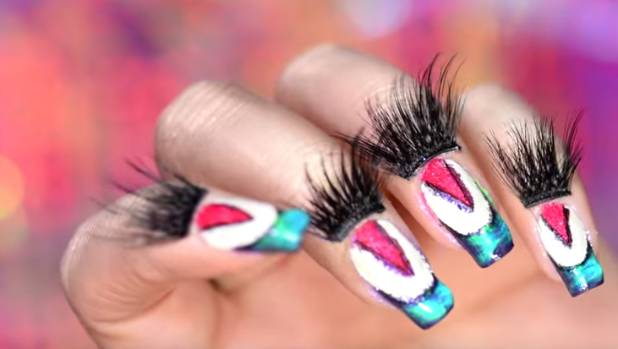 Here's what a manicure using makeup looks like.