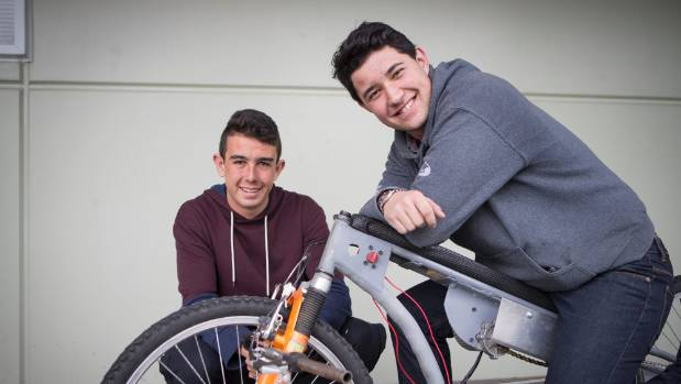 Tauhara College students from left,  Denis Mansell  and Joshua Love-Parata with their electric bike they built.
