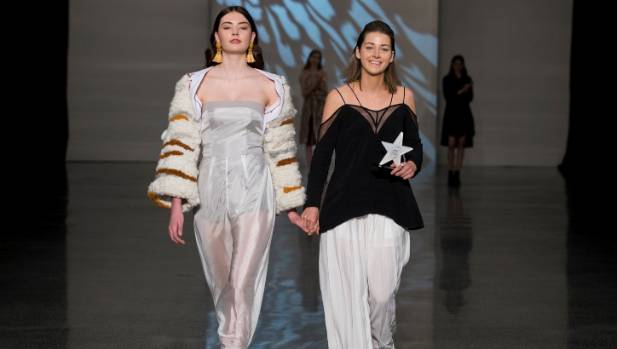 Sophie Parsons (right), with her award-winning design that won the Brother Design Stars competition and was paraded at ...