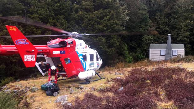 The Nelson Marlborough Rescue Helicopter recovered three stranded trampers from Thor Hut in the Kahurangi National Park ...