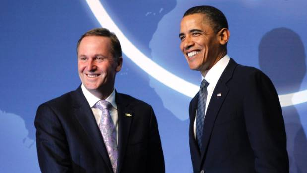 John Key with Barack Obama. Can NZ pollies match US-level porkie-telling?