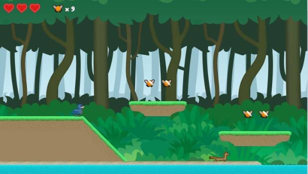 In Whio Boot Camp, players must collect flies and evade the watchful stoats.