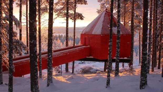Treehotel, Lulea, Sweden, the Blue Cone in winter.